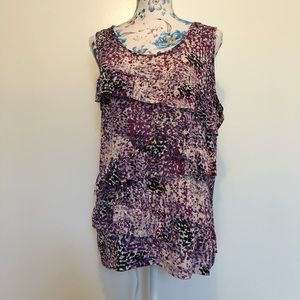 VanHeusen purple splatter polka dot sleeveless top